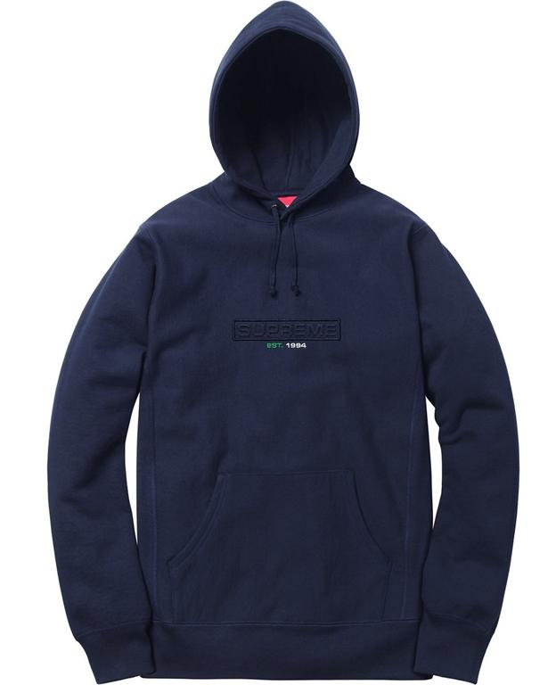 Supreme Embossed Logo Hooded Sweatshirt (SS18)- Navy